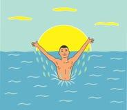 Natación feliz del hombre en el mar stock de ilustración