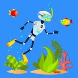 Natación turística del robot entre pescados con vector de la máscara que se zambulle Ilustración aislada