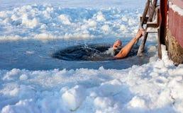 Natación del agujero del hielo Imagen de archivo libre de regalías