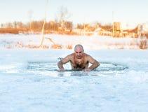 Natación del invierno Hombre en hielo-agujero Imagen de archivo
