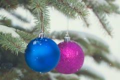 A Natal-árvore azul e roxa brinca nos ramos nevado fotografia de stock
