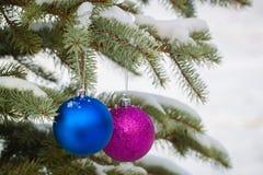 A Natal-árvore azul e roxa brinca nos ramos nevado imagem de stock royalty free