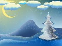 Natal-árvore em uma noite da lua. EPS 8 Foto de Stock Royalty Free