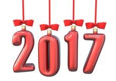 A natal-árvore vermelha brinca, bolas sob a forma do texto 2017, pendurando a fita Foto de Stock Royalty Free