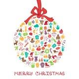 Natal, ícones do ano novo na forma redonda da bola, Foto de Stock