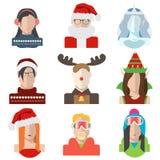 Natal, ícones do avatar do inverno no estilo liso ilustração royalty free