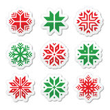 Natal, ícones dos flocos de neve do inverno ajustados Foto de Stock Royalty Free