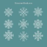 Natal ajustado com elementos gráficos dos snowflackes ilustração stock