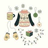 Natal ajustado com objetos dos desenhos animados Fotos de Stock