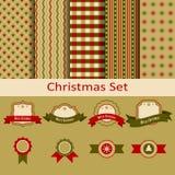 Natal ajustado com testes padrões e etiquetas Imagens de Stock Royalty Free