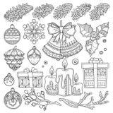Natal ajustado do vetor, elementos do sumário do ano novo Imagem de Stock