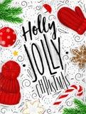Natal alegre do azevinho do cartaz ilustração stock