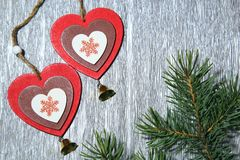 Natal, ano novo, dia do ` s do Valentim do St, amor Dois coloridos Foto de Stock
