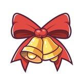 Natal Bels e curva vermelha ilustração stock