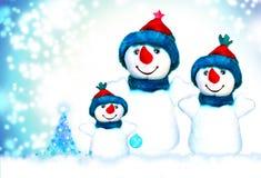 Natal, boneco de neve e família Fotos de Stock Royalty Free