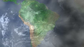 Natal - Brazil Zoom In From Space. Zoom to geographic earth from space 4K Resolution animation stock footage