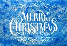 Natal Callygraphic - inscrição tirada mão lettering O fundo do inverno da aquarela, pinta a textura azul para o ano novo e o Chr ilustração do vetor
