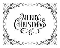 Natal Callygraphic - inscrição tirada mão lettering Texto para o cartão Quadro do cumprimento ilustração stock