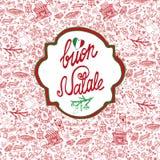 Natal, cartão de Natale Fundo do teste padrão, etiqueta ilustração stock