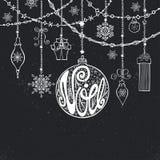 Natal, cartão de Noe Bola da rotulação, festões Giz ilustração stock