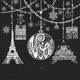 Natal, cartão de Noe Festões, bola, marco de Paris Giz ilustração stock