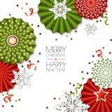 Natal, cartão do ano novo Vector as estrelas e os flocos de neve de papel em cores verdes, vermelhas Projeto para a bandeira, car ilustração do vetor