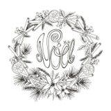 Natal, cartão do noel Flor, abeto, citrino, especiaria ilustração do vetor
