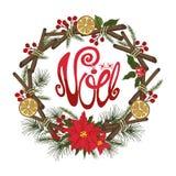 Natal, cartão do noel Flor, abeto, citrino, especiaria ilustração royalty free