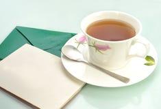 Natal-cartão e chá fotos de stock