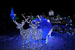 Natal, cervo, ano novo, festões, trenó Imagem de Stock