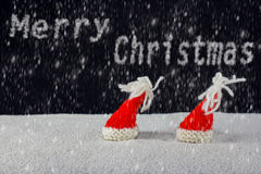 Natal-chapéus e neve fotos de stock