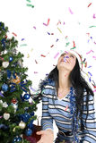 Natal com confetti Fotos de Stock Royalty Free