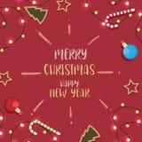 Natal com decorado no vermelho do fundo Imagens de Stock Royalty Free