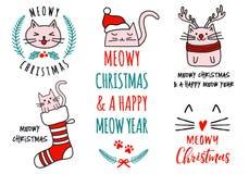 Natal com gatos bonitos, grupo de Meowy do vetor Imagens de Stock Royalty Free