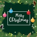 Natal com ramos decorados do pinho do presente da bola Fotografia de Stock