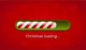 Natal da carga Barra vermelha e verde da Web na obscuridade - fundo vermelho com flocos de neve Fotografia de Stock Royalty Free