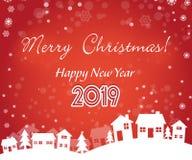 Natal da cor vermelha e ano novo 2019 fotografia de stock