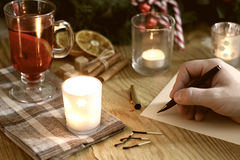 Natal da escrita da mão Fotografia de Stock