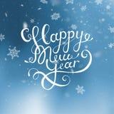 Natal da ilustração do vetor e ano novo feliz Fundo azul borrado Neve de queda wallpaper 2019 2018 Cumprimento da rotulação ilustração royalty free