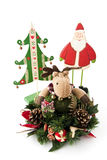 Natal da rena, um abeto e Papai Noel. Fotos de Stock Royalty Free