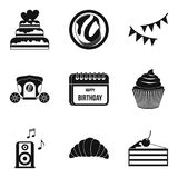 Natal day icons set, simple style. Natal day icons set. Simple set of 9 natal day vector icons for web isolated on white background Royalty Free Stock Photos