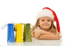 Natal de espera da menina feliz Imagens de Stock Royalty Free