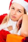 Natal de espera fêmea furado de Santa imagens de stock royalty free