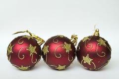 Natal decorativo de três esferas Foto de Stock Royalty Free