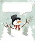 Natal do boneco de neve com balão do diálogo Fotografia de Stock Royalty Free
