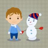 Natal do caráter o menino e o boneco de neve Fotografia de Stock