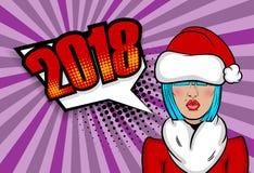 Natal do cumprimento do pop art da mulher Fotografia de Stock