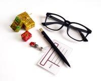 Natal do negócio: pena, vidros Imagens de Stock