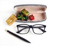 Natal do negócio: pena, vidros Imagem de Stock