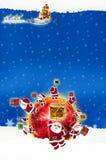 Natal do quadro de avisos do cartaz no fundo azul Imagens de Stock